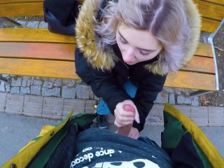 Cute teen swallows cum for cash – public blowjob in the park by Eva Elfie